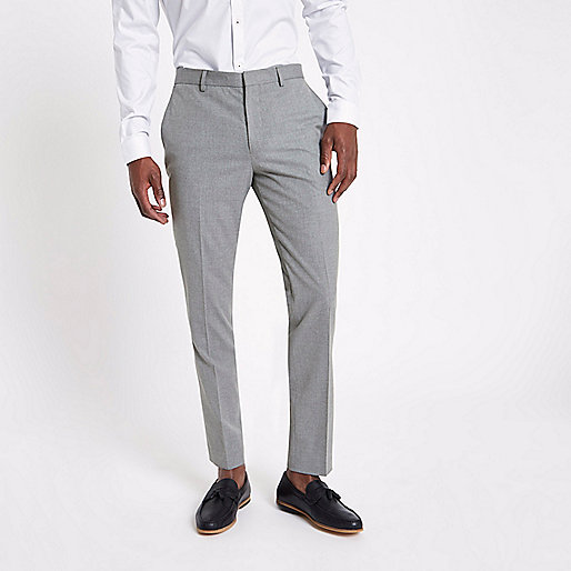 Grey slim fit smart suit pants