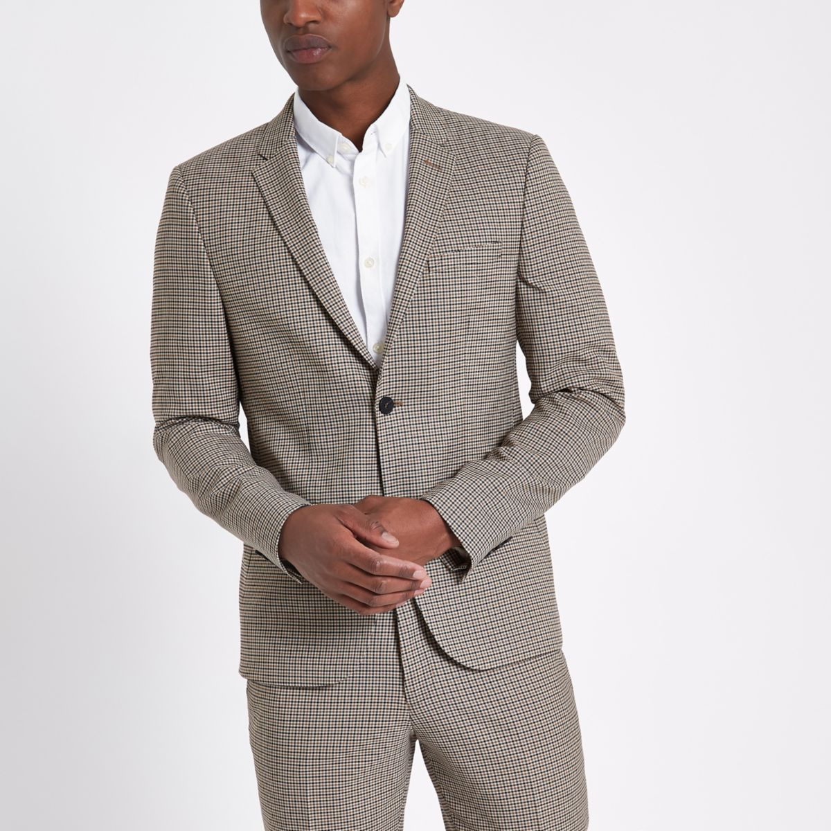 Brown skinny fit dogstooth check blazer