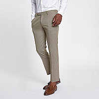 Brown dogstooth check cropped skinny trousers