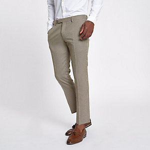 Brown dogstooth cropped skinny trousers