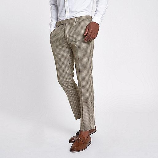 pantalon skinny court motif pied de poule marron pantalons de costume costumes homme. Black Bedroom Furniture Sets. Home Design Ideas