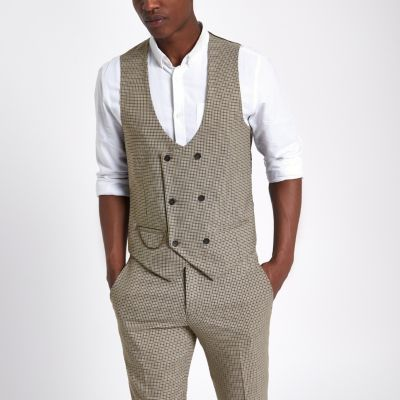 brown dogstooth check waistcoat waistcoats suits men. Black Bedroom Furniture Sets. Home Design Ideas