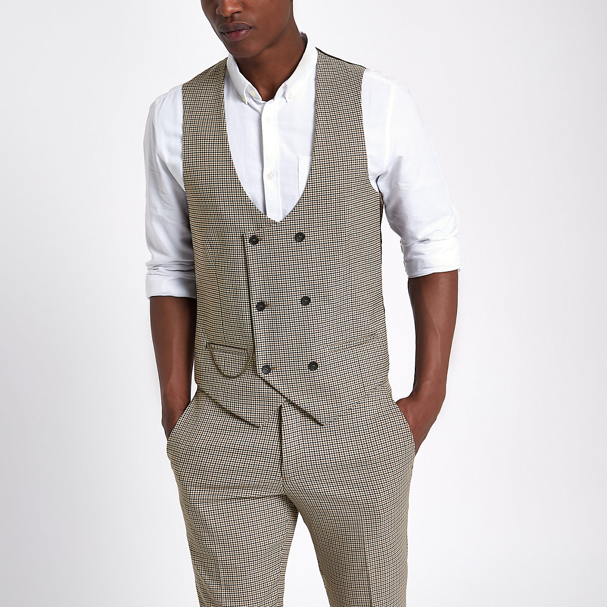 Brown dogstooth check waistcoat - Waistcoats - Suits