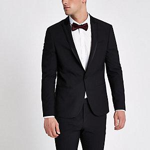 Schwarze Skinny Fit Anzugsjacke mit Satinrevers