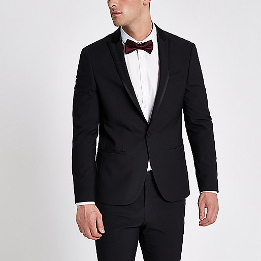 Black satin lapel skinny fit suit jacket