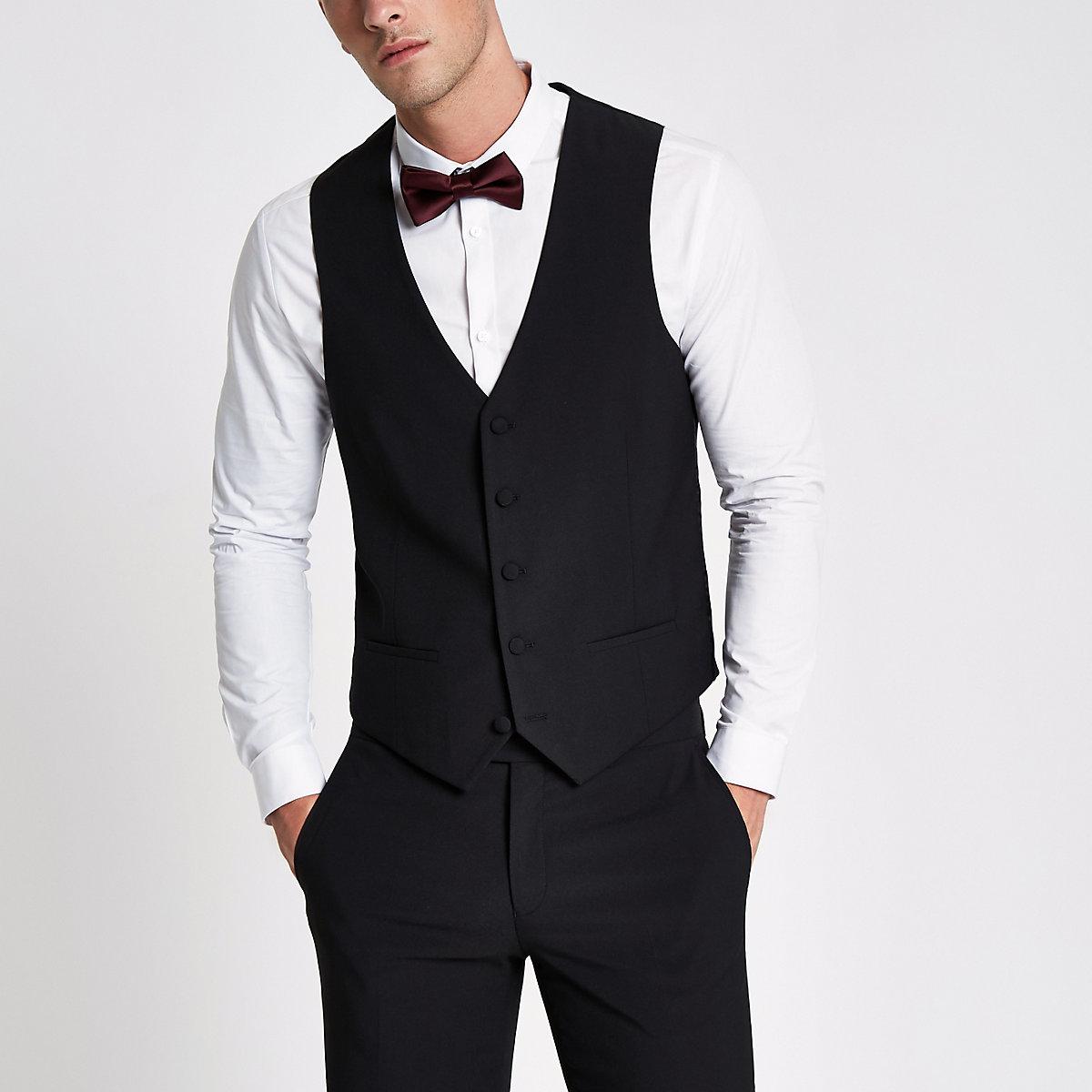 Black suit waistcoat