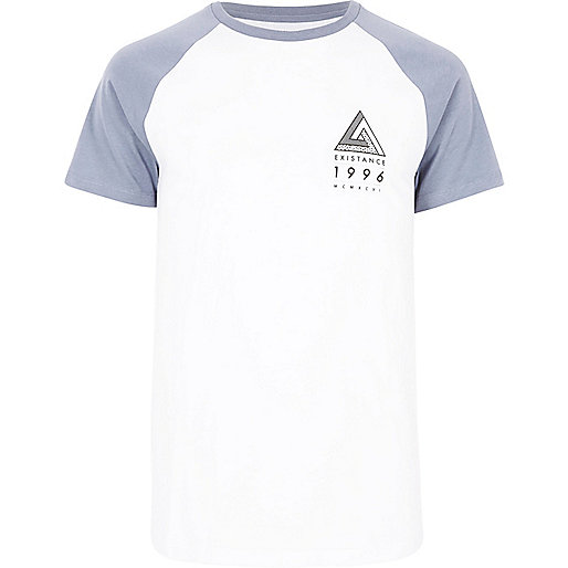 White chest logo raglan T-shirt