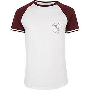 Wit slim-fit T-shirt met print en raglanmouwen