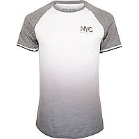 White faded print slim fit raglan T-shirt