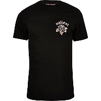 Black rose print slim fit T-shirt