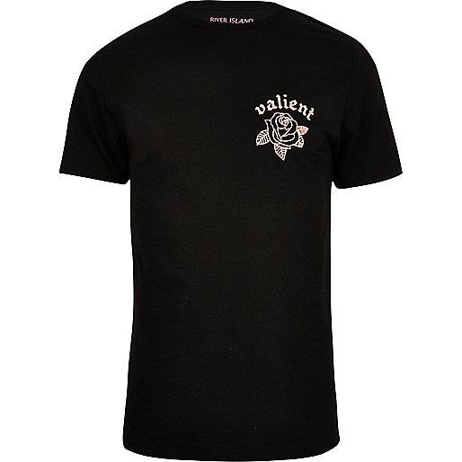Black rose print slim fit T-shirt