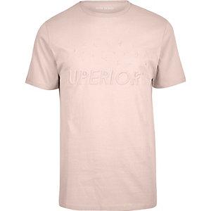 Lichtroze slim-fit T-shirt met reliëf