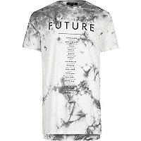 Weißes Batik-T-Shirt mit Future-Print