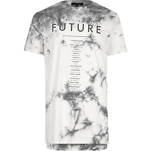 White future print tie dye T-shirt