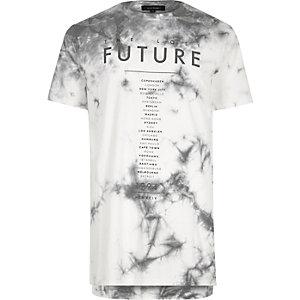 White future print tie dye T-shirt