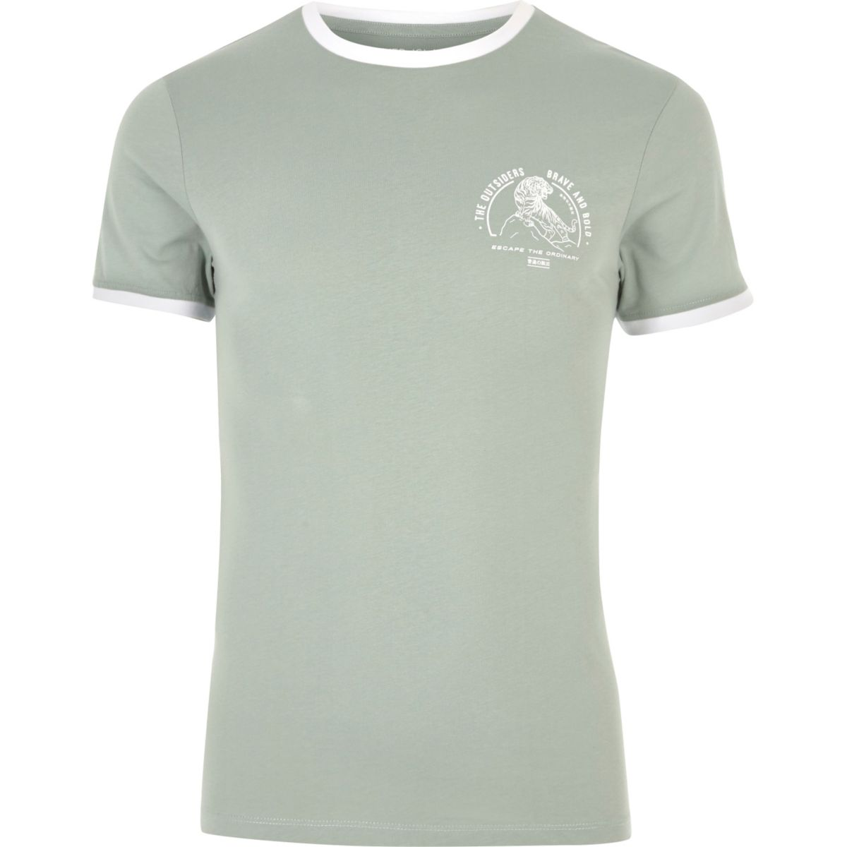 Ming green tipped collar muscle fit T-shirt