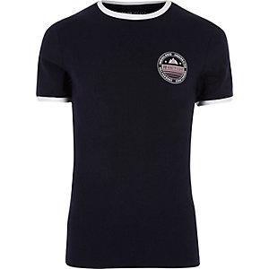 T-shirt coupe près du corps bleu marine avec col à liseré