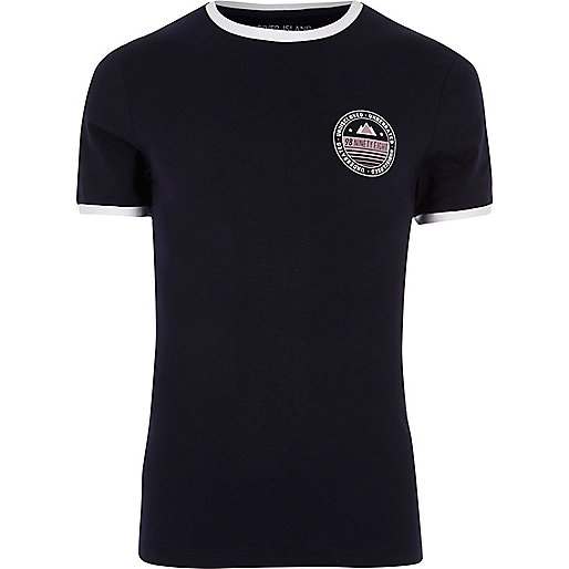 Navy blue tipped collar muscle fit T-shirt
