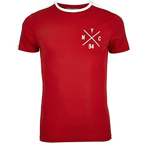 Red NYC logo muscle fit T-shirt