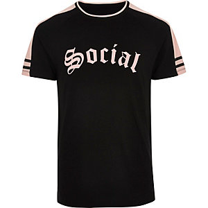 Black social print raglan T-shirt