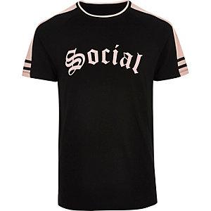 T-shirt noir imprimé Social à manches raglan