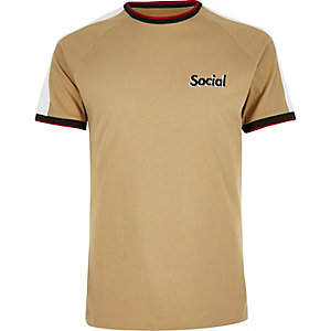 Camel brown logo raglan T-shirt