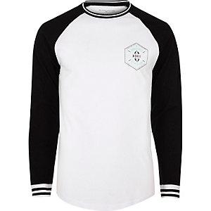 White and black chest print baseball top