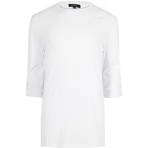 White distressed longline roll sleeve T-shirt