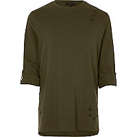 Khaki distressed longline roll sleeve T-shirt