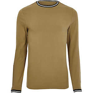 Camel brown tipped muscle fit T-shirt