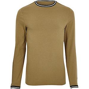 T-shirt ajusté marron clair avec liseré