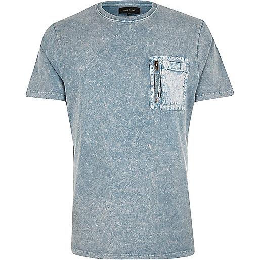 Blue washed pocket slim fit T-shirt