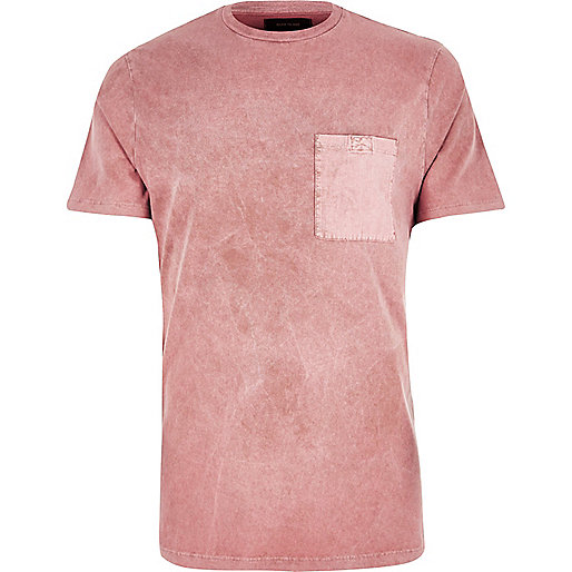 Pink washed pocket slim fit T-shirt