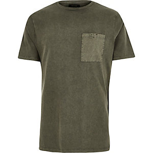 Khaki green washed pocket T-shirt
