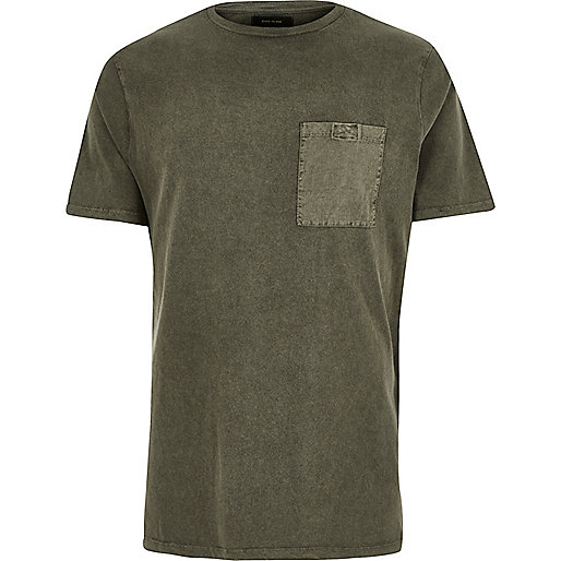 Khaki green washed pocket T-shirt