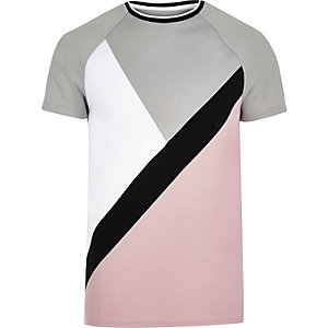 Slim Fit T-Shirt in Pink und Grau