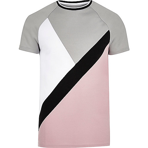 Pink and grey slim fit T-shirt