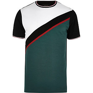 Green color block T-shirt