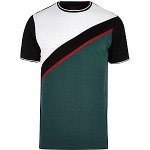 Green color block T-shirt