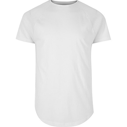 White mesh raglan sleeve T-shirt