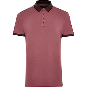 Light red popper polo shirt