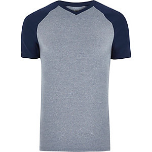 Navy blue muscle fit V-neck T-shirt