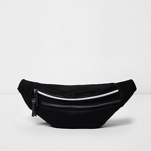 Black mesh bum bag