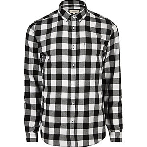 Black and white casual check flannel shirt