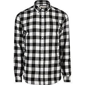 Chemise casual en flanelle à carreaux noire et blanche