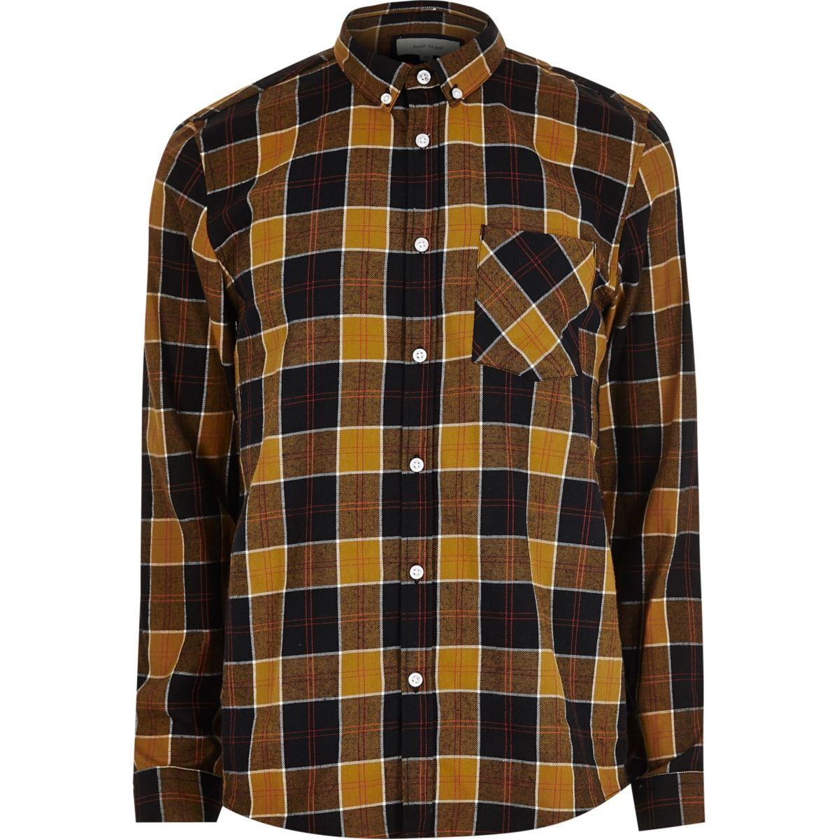 Gold and camel check shirt