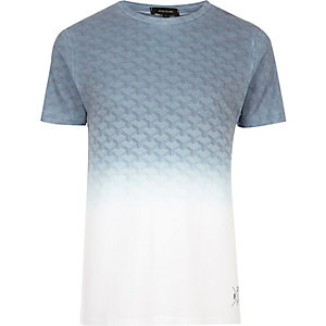 White faded geo print T-shirt