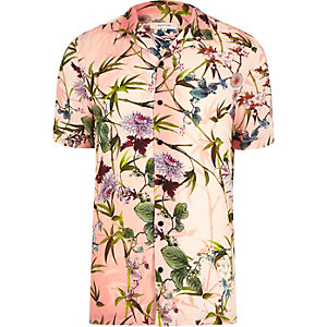 Pink floral revere collar short sleeve shirt