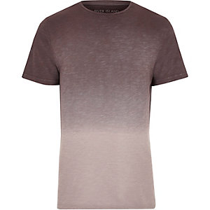 Purple dip dye slim fit T-shirt