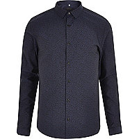 Navy leopard jacquard slim fit shirt